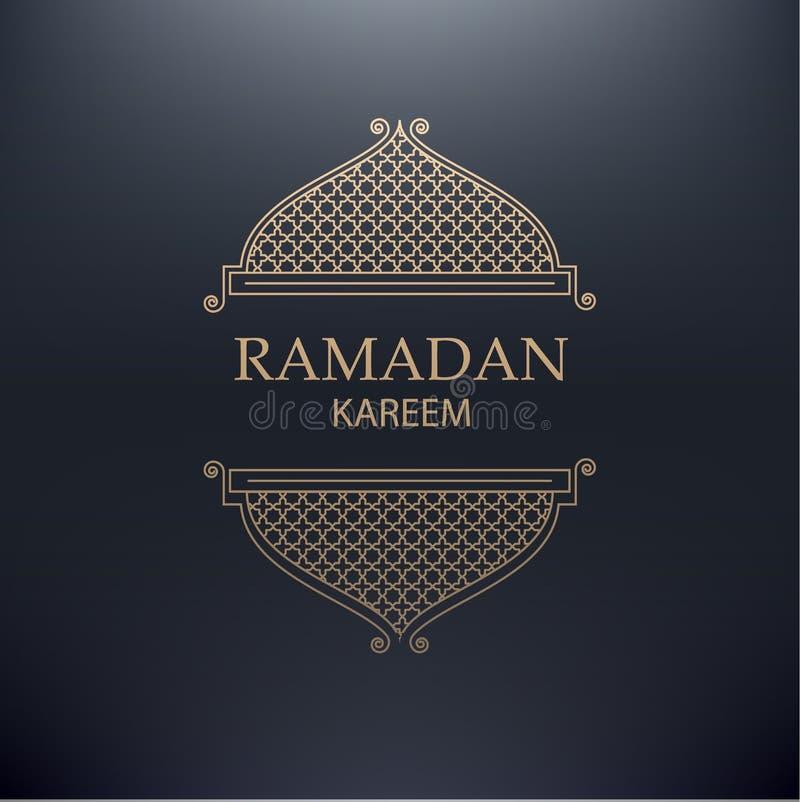 Ramadan kareem achtergrond gouden lijn arabick element met plaats royalty-vrije illustratie