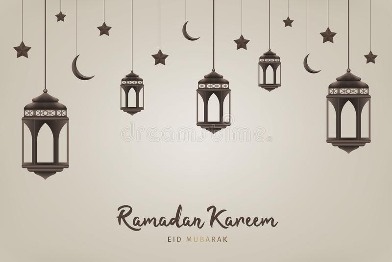 Ramadan Kareem-achtergrond Hangende lantaarns, halve manen en sterren Moslimfeest van de heilige maand stock illustratie