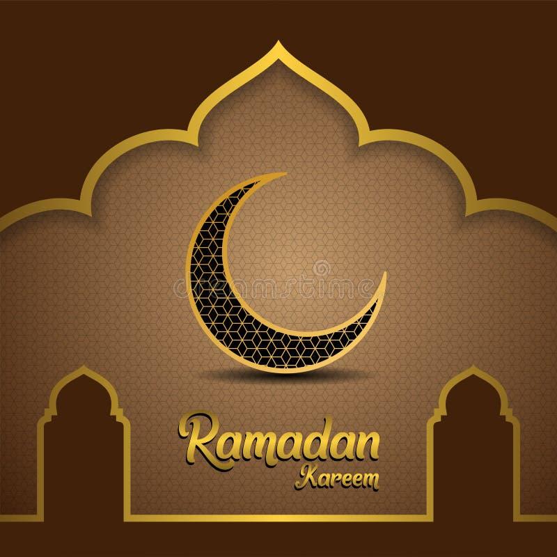 Ramadan kareem achtergrond, illustratie met moskeekoepel en gouden overladen halve maan, op bruine en gouden achtergrond EPS 10 b royalty-vrije illustratie
