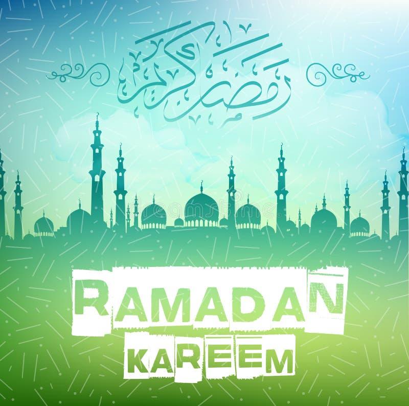 Ramadan kareem achtergrond met Arabische kalligrafie en moskee royalty-vrije illustratie