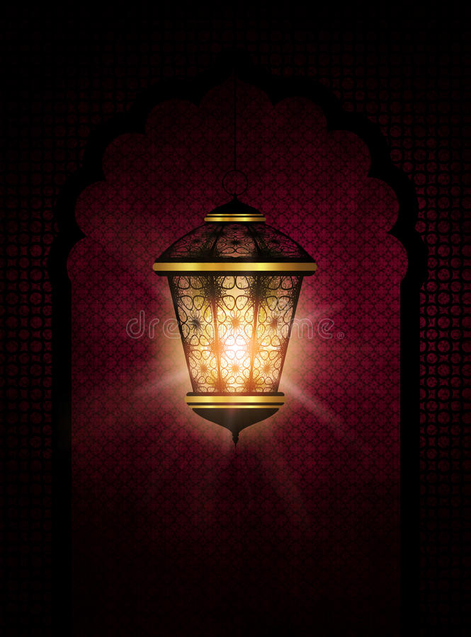 Ramadan kareem achtergrond met glanzende lantaarn royalty-vrije illustratie