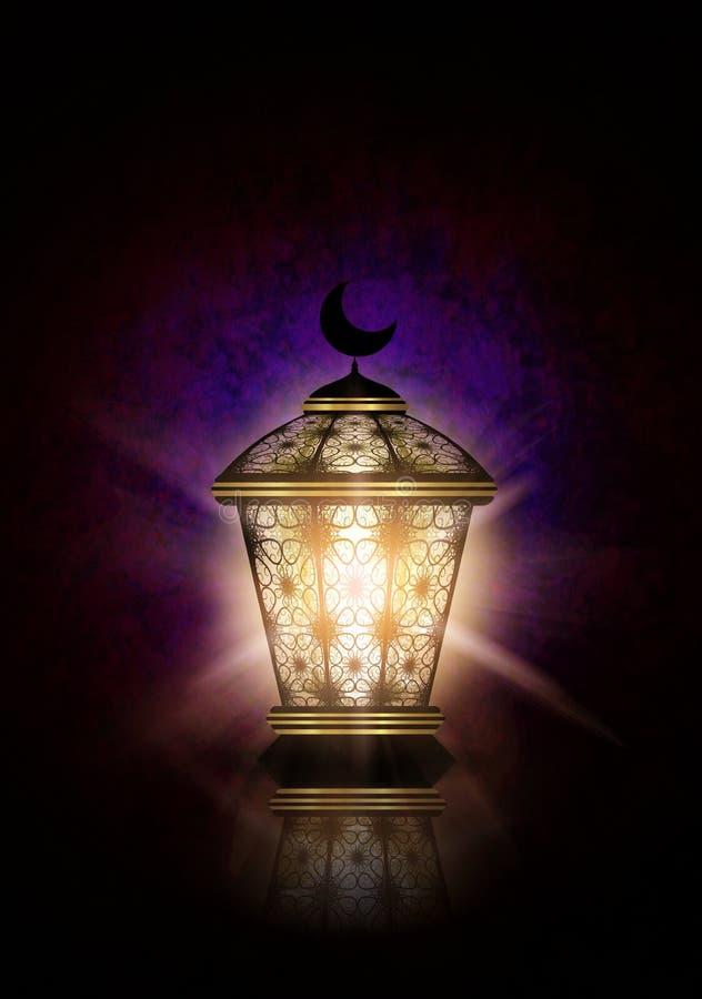 Ramadan kareem achtergrond met glanzende lantaarn