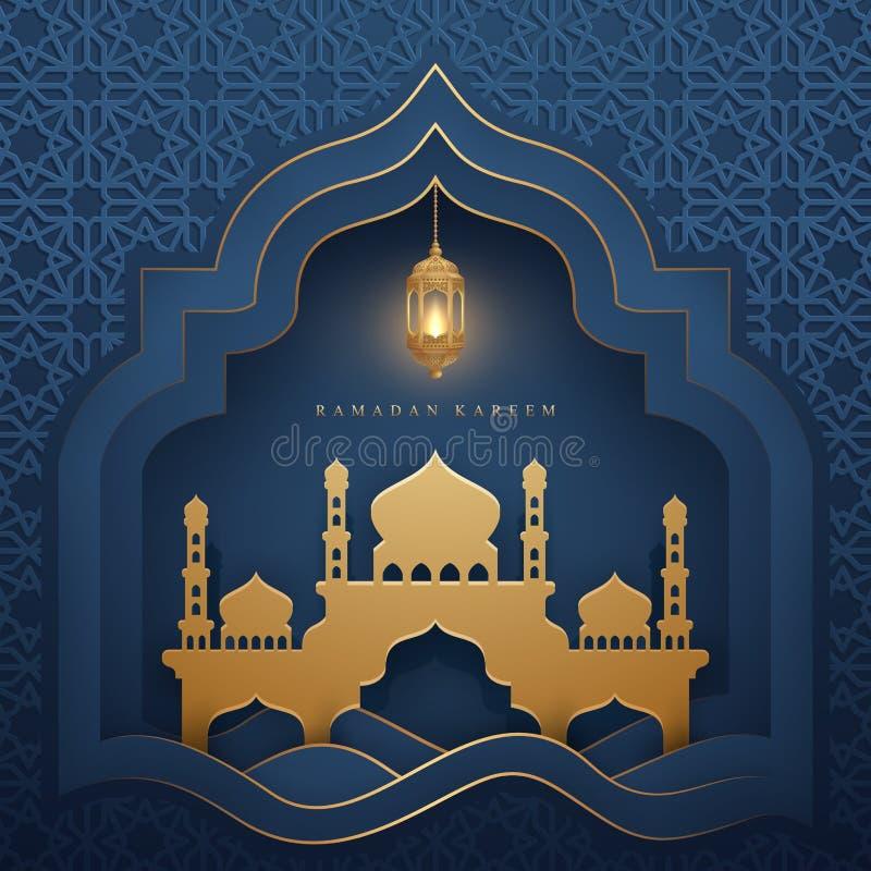 Ramadan kareem achtergrond met gloeiende hangende lantaarn en moskee De de kaartachtergrond van de luxegroet met 3D document snee vector illustratie