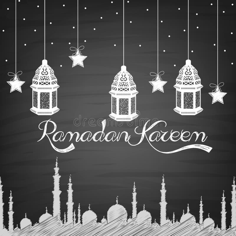 Ramadan Kareem-achtergrond met lamp, sterren en moskee van handtekening royalty-vrije illustratie