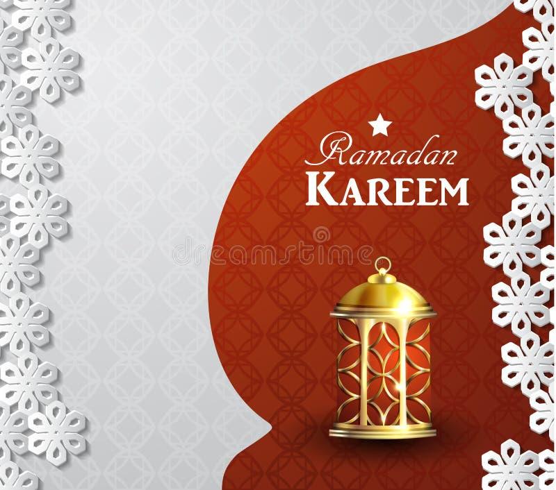Ramadan kareem achtergrond met lantaarn stock illustratie