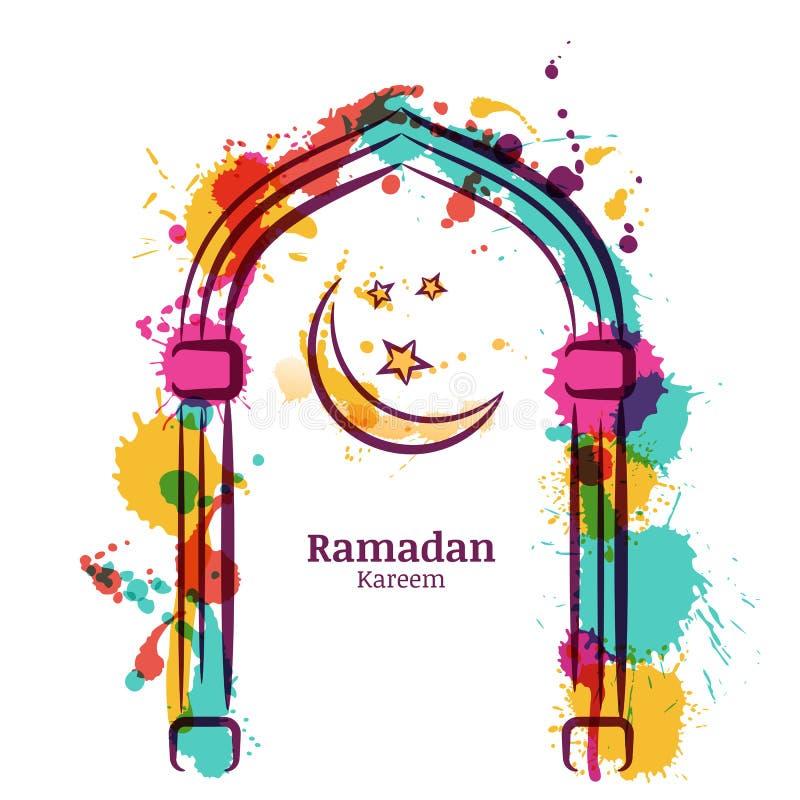 Ramadan Kareem akwareli wektorowy tło z kolorową księżyc i gwiazdami w okno