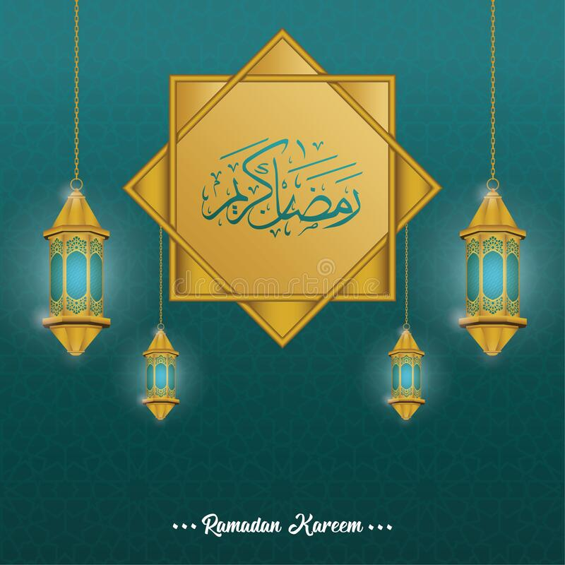 Ramadan Kareem arabic calligraphy with classic pattern and lantern royalty free stock image