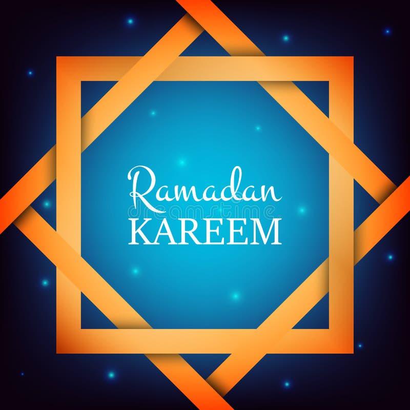 Ramadan Kareem Arabische achtergrond met sterren, gouden kader en typografie