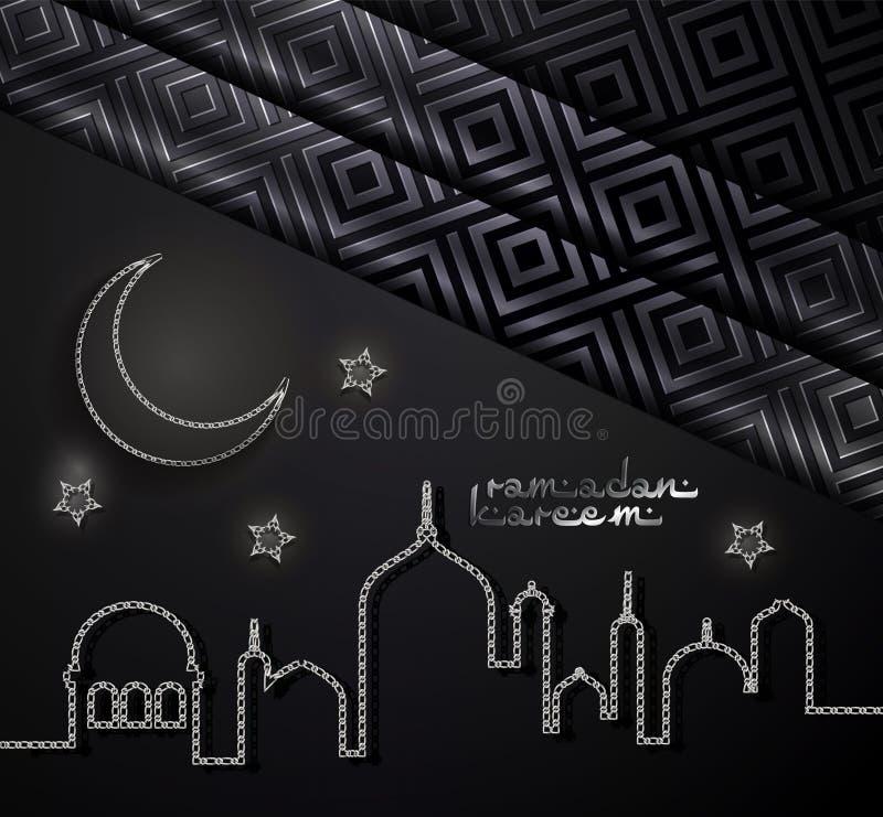 Ramadan Kareem arabiskt hälsningkort Ramadan Kareem begreppsbaner med islamiska geometriska modeller, den växande månen och stjär vektor illustrationer