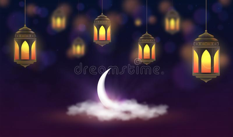 Ramadan Kareem background. Hanging lanterns and crescent in clouds. Muslim feast of the holy month royalty free illustration