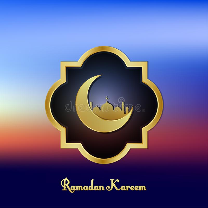 Ramadan kareem background image. color view blurry sky clean with golden frame, moon and mosque vector illustration