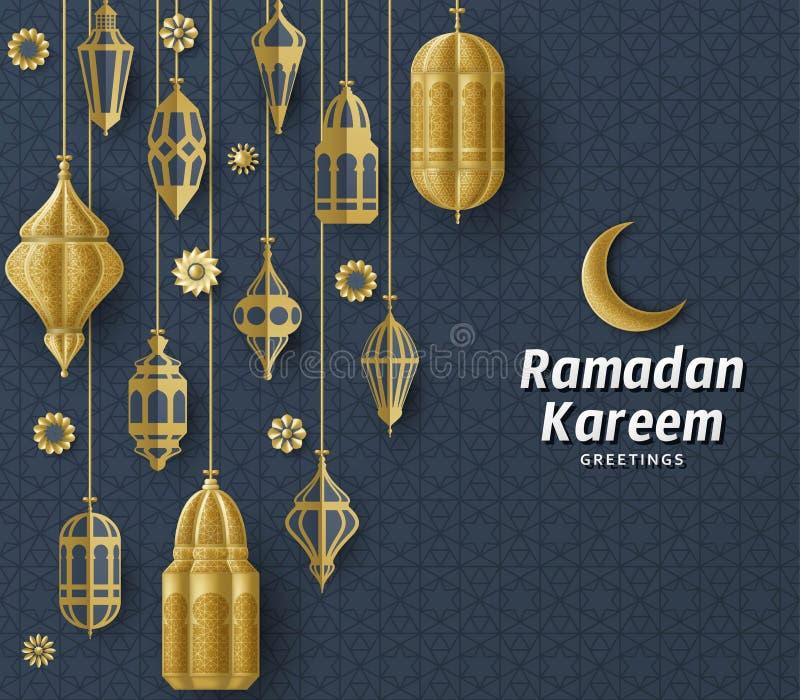 Ramadan Kareem Background. Islamic Arabic lantern. Translation Ramadan Kareem. Greeting card. stock illustration