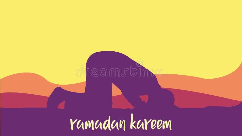 Ramadan Kareem background with man praying stock illustration