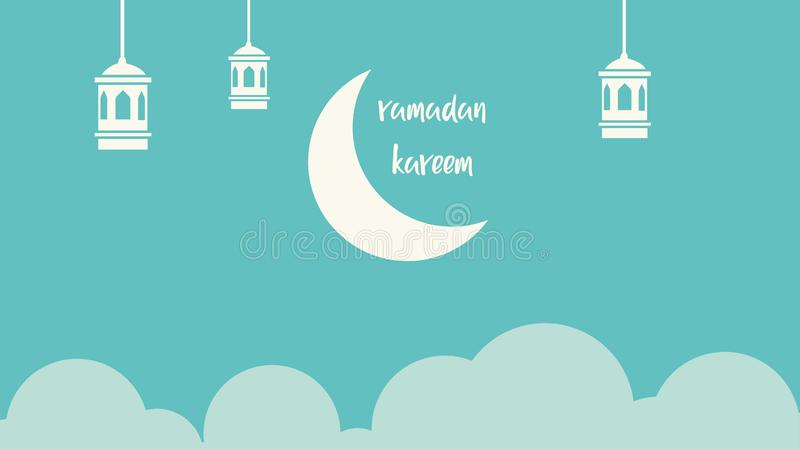 Ramadan kareem background with moon and clouds stock illustration
