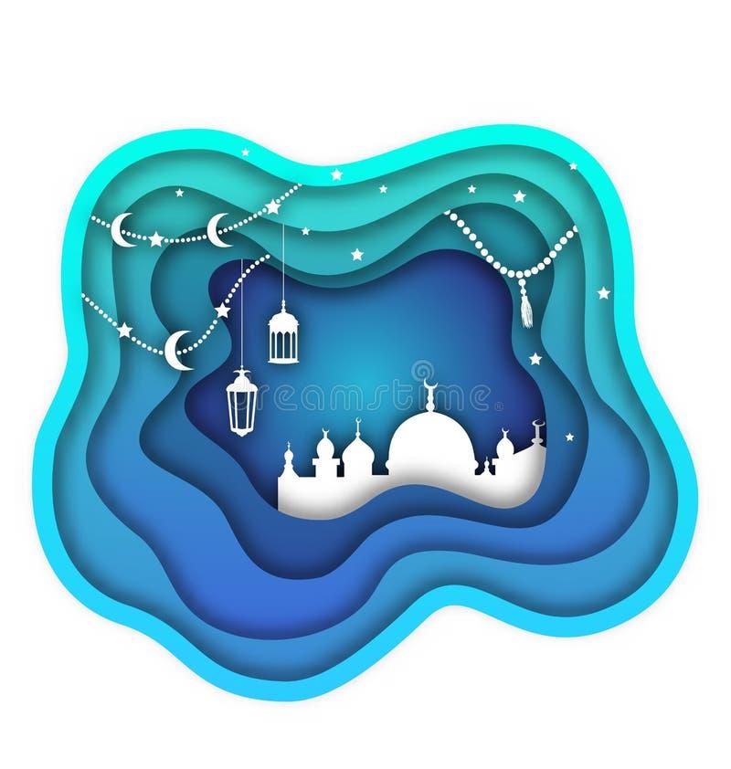Ramadan Kareem Background, Mosque, Lamps, Moon, Stars. Islamic Design, Cut Paper Template royalty free illustration