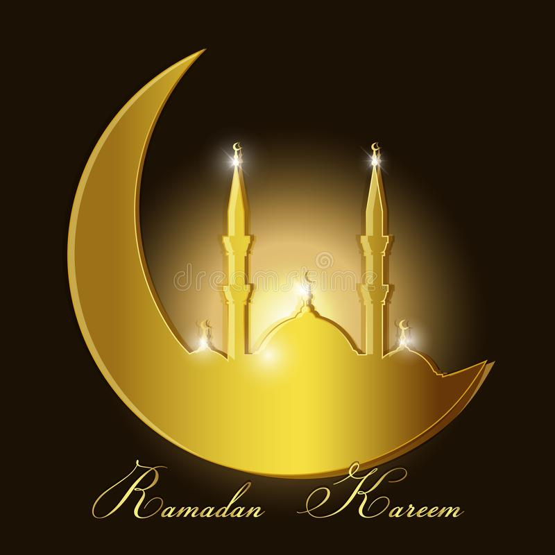 Ramadan Kareem Background With Mosque Silhouette Stock