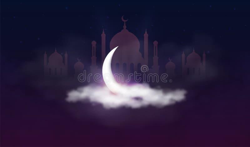 Ramadan Kareem bakgrund Muslimsk festmåltid av den heliga månaden Härlig halvmånformig- och moskékontur i moln med stjärnor stock illustrationer