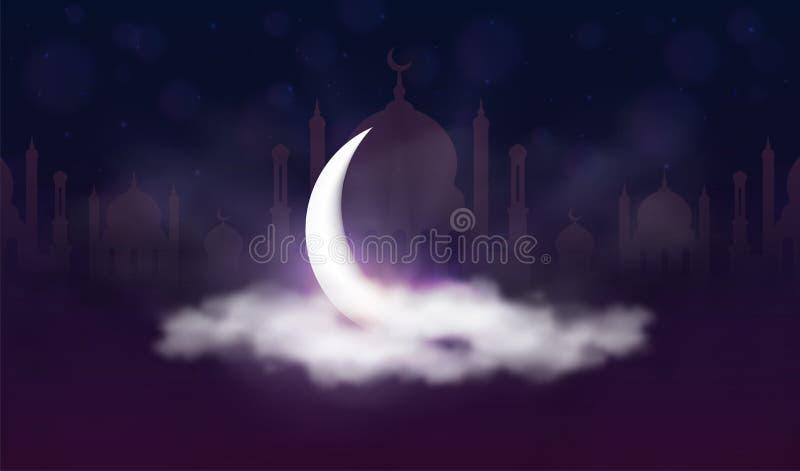 Ramadan Kareem bakgrund Muslimsk festm?ltid av den heliga m?naden Härlig halvmånformig- och moskékontur i moln vektor illustrationer