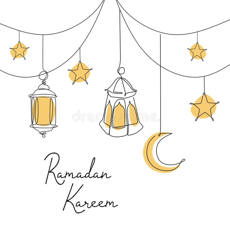 Ramadan kareem banner design continuous line drawing of lantern, moon, and star vector illustration