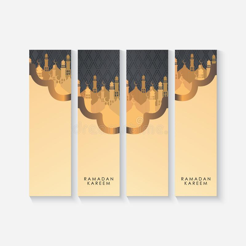 Free Ramadan Kareem Banner Set. Mosques On Black Background Vector Illustration For Ramadan Greeting Card, Poster And Voucher. Stock Photography - 214786122