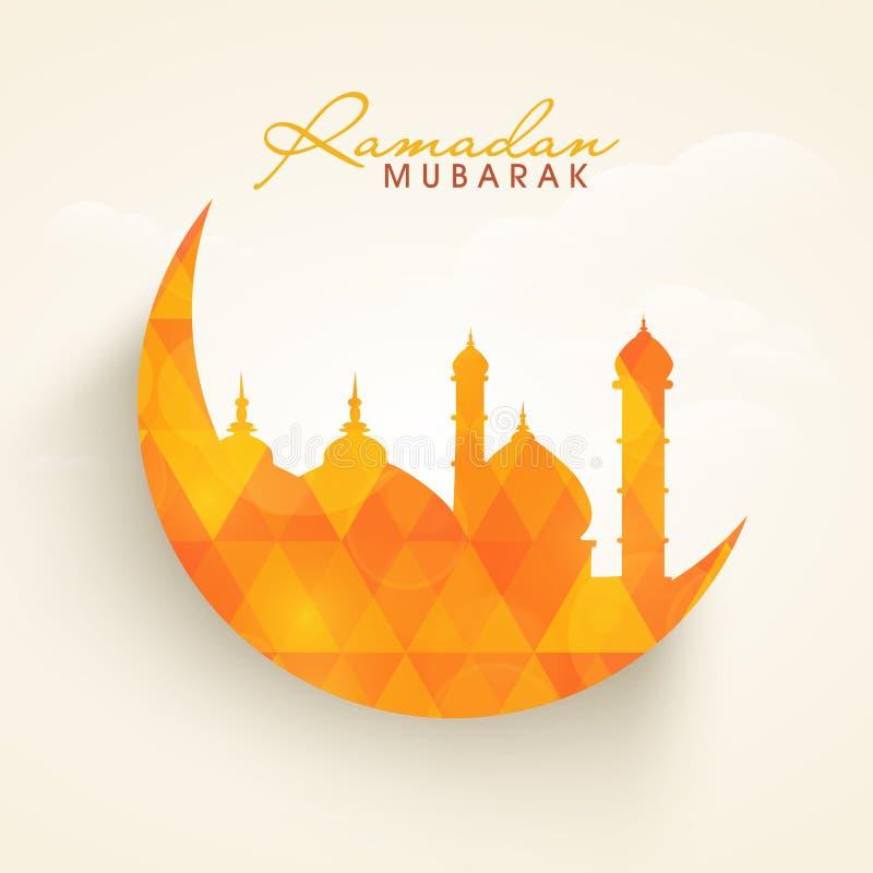 Ramadan Kareem beröm med den islamiska månen och moskén