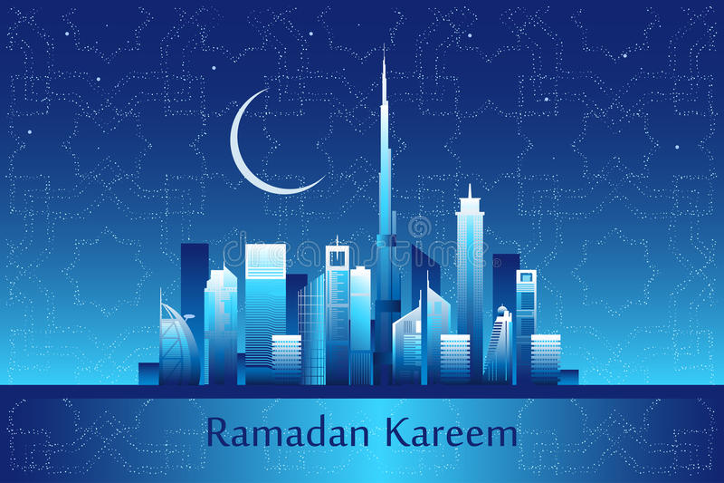 Ramadan kareem bericht op de de stadshorizon van Doubai