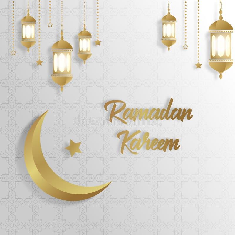 Ramadan Kareem bia?ego z?ota t?a Islamski luksusowy szablon ilustracja wektor