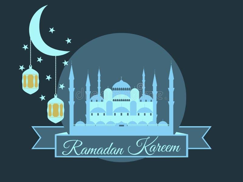 Ramadan Kareem, blauwe moskee, minaret, lantaarn en maan, moslimvakantielichten op een witte achtergrond stock illustratie
