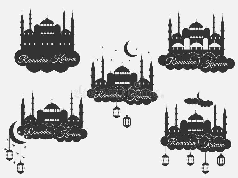 Ramadan Kareem, blauwe moskee, minaret, lantaarn en maan, moslimvakantielichten Vastgestelde isolatiebanners, emblemen Vector stock illustratie