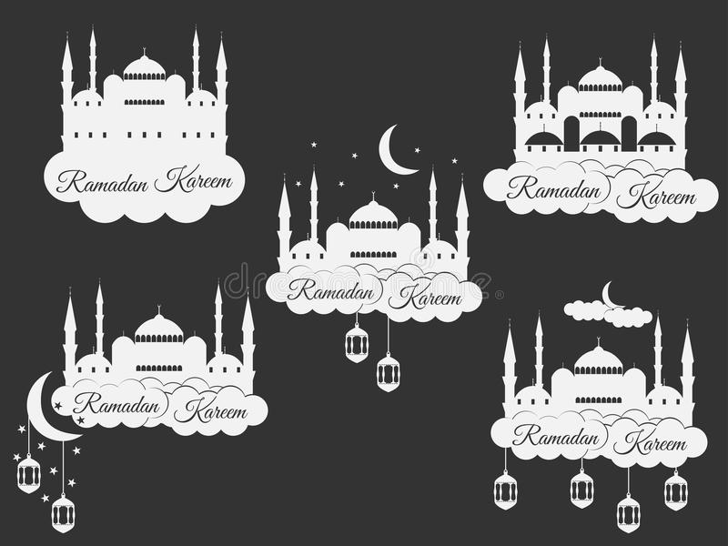 Ramadan Kareem, blauwe moskee, minaret, lantaarn en maan, moslimvakantielichten Vastgestelde isolatiebanners, emblemen Vector vector illustratie