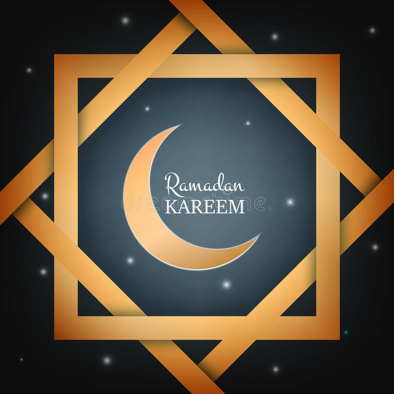 Ramadan Kareem card design layuot. Arabian background with star lights, gold frame and typography royalty free illustration
