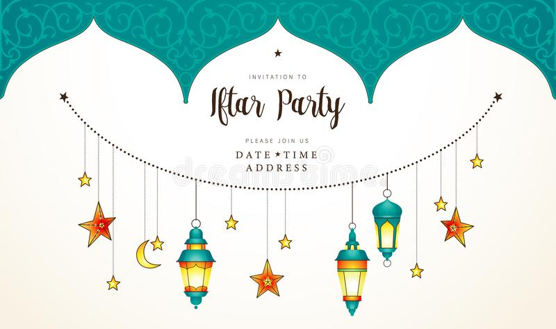 Ramadan Kareem card, Invitation to Iftar party celebration. stock illustration