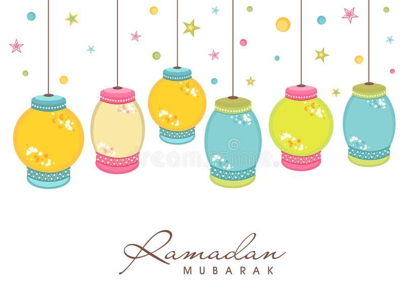 Ramadan Kareem celebration with colorful hanging lantern. vector illustration