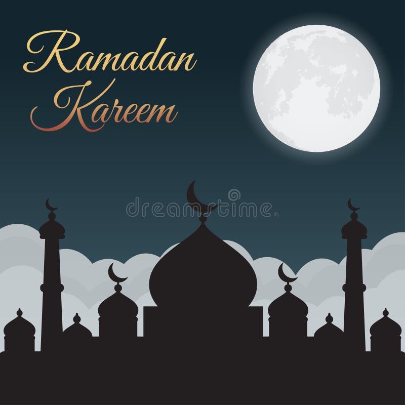 Ramadan Kareem Cielo nocturno con la silueta y la luna, nubes de la mezquita Fondo árabe stock de ilustración