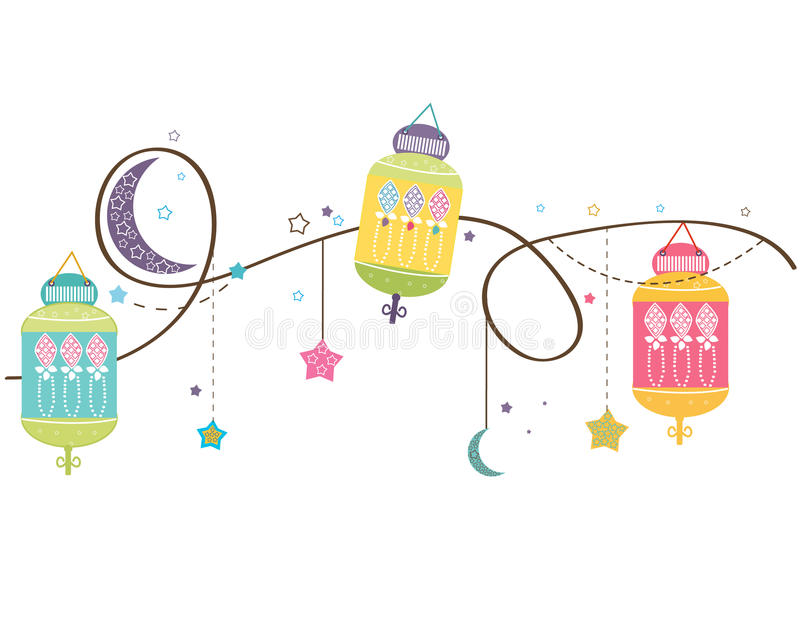 Ramadan Kareem with colorful Lamps, Crescents and Stars. Traditional lantern of Ramadan vector background royalty free illustration