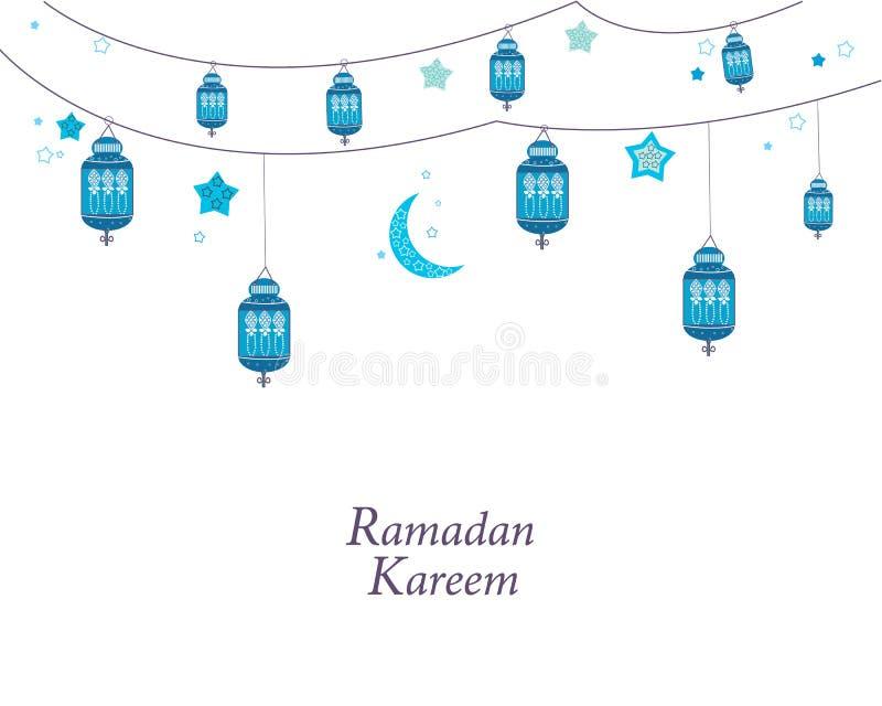 Ramadan Kareem com lâmpadas, crescentes e as estrelas azuis Lanterna preta tradicional do fundo da ramadã ilustração royalty free