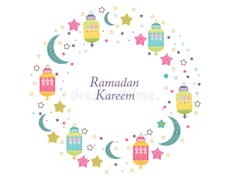 Ramadan Kareem com lâmpadas, crescentes e estrelas Lanterna tradicional da ilustração colorida do vetor do quadro do círculo da r ilustração do vetor