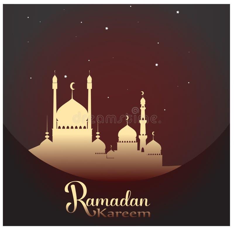 Ramadan Kareem con la lámpara árabe compleja para la celebración del festival de comunidad musulmán stock de ilustración