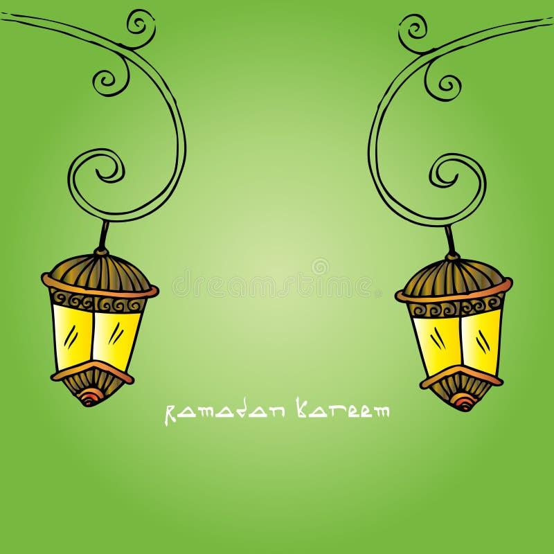 Ramadan Kareem con la lámpara stock de ilustración
