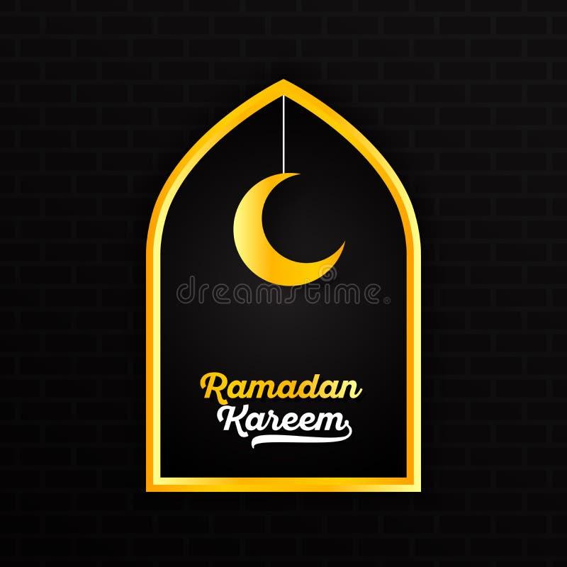 Ramadan Kareem con la stella crescente della luna bianca gialla dell'iscrizione e di attaccatura dell'oro in bordo di una finestr illustrazione di stock