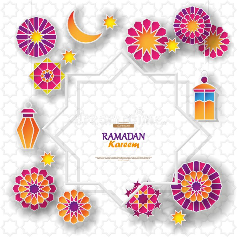 Ramadan Kareem concept banner with islamic geometric patterns and eight pointed star frame. Paper cut 3d flowers royalty free illustration