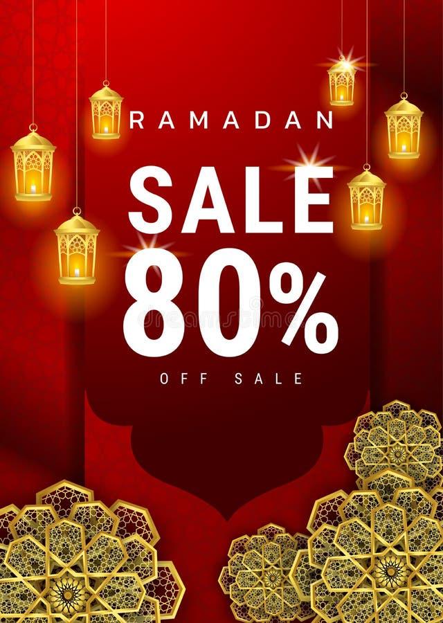 Ramadan Kareem-de bannerontwerp van de verkoopaanbieding voor bevorderingsaffiche, korting, gift, bon, Webkopbal en banner, groet royalty-vrije illustratie