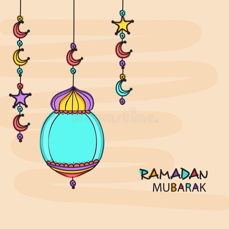 Ramadan Kareem-de kaart van de vieringsgroet met Arabische lantaarn