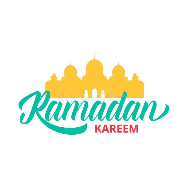 Ramadan Kareem-de lay-out van het vakantieontwerp Illustratie met Islamitische moskee en typografie