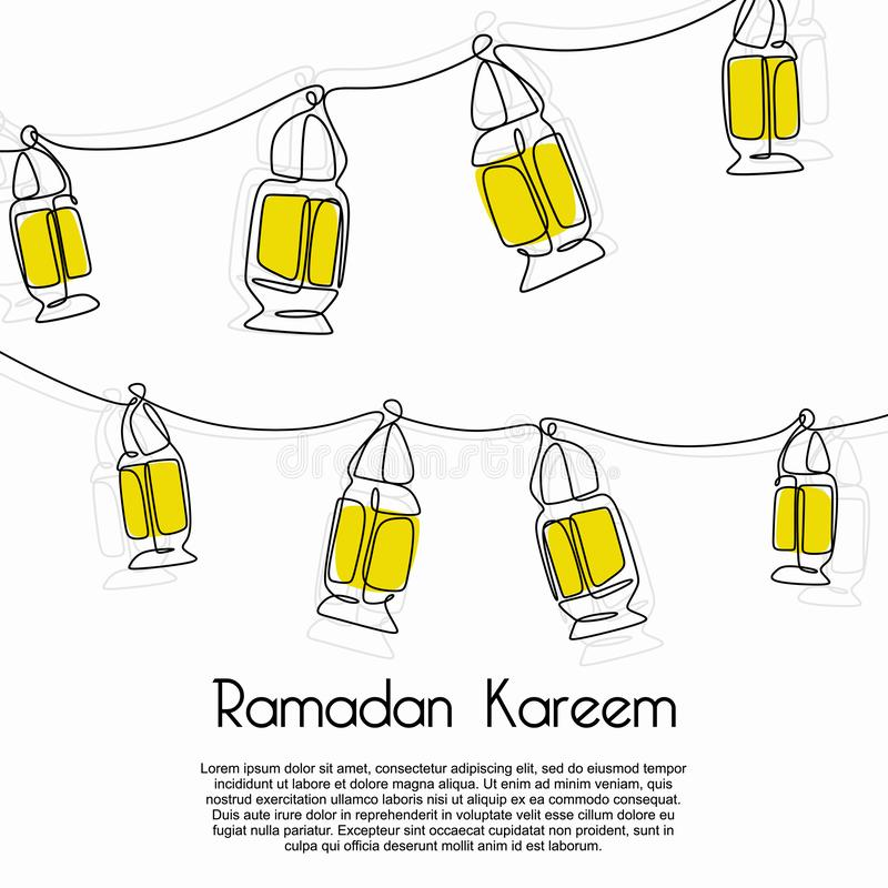 Ramadan kareem decorative lantern banner template on white background. Trendy minimalist design vector illustration for muslim royalty free illustration