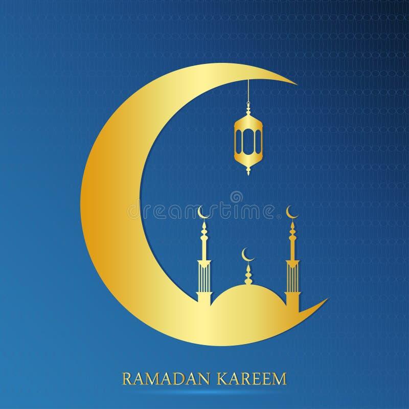 Ramadan Kareem design för muslimsk festmåltid av den heliga månaden Ramadanhälsningkort med den guld- moskén och halva per månad  royaltyfri illustrationer