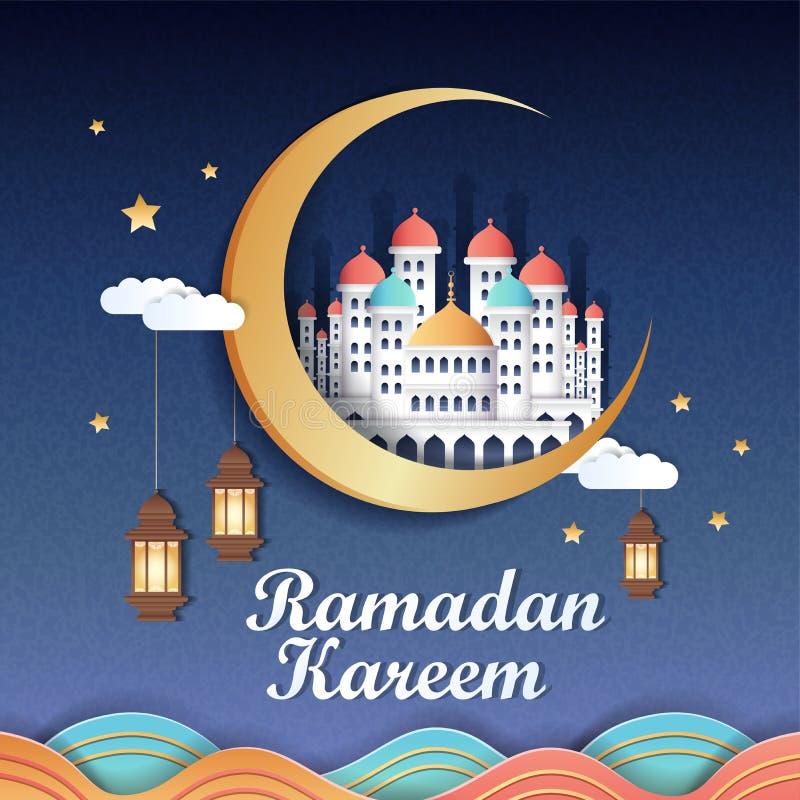 Ramadan design in paper art stock illustration