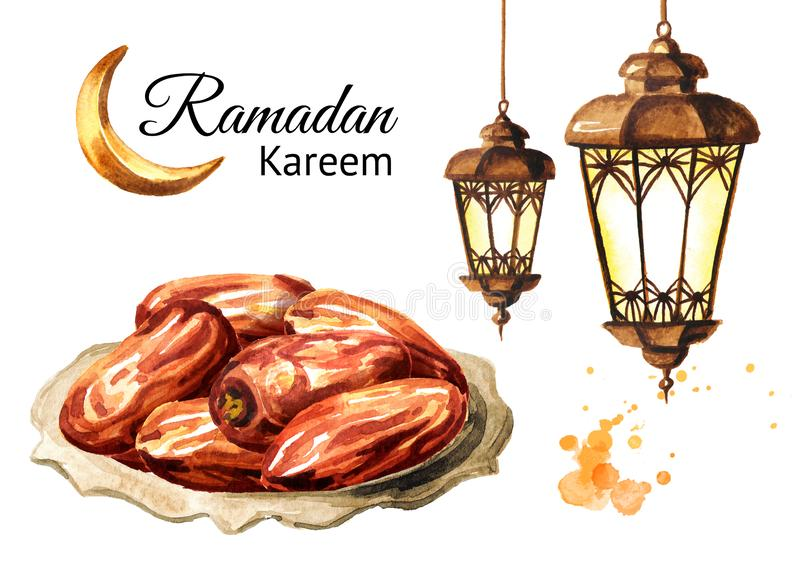Ramadan kareem. Dried Date fruits with green mint leaves on the plate and lantern. Watercolor hand drawn illustration, isolated on stock illustration