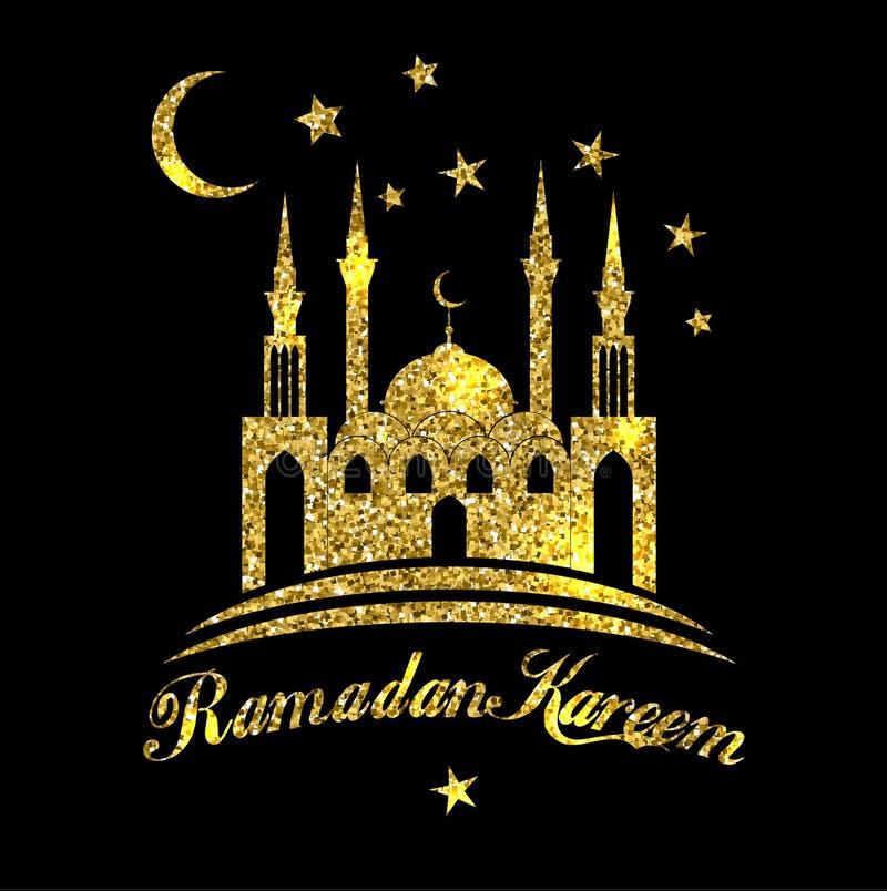 Ramadan Kareem eller Eid mubarak som hälsar bakgrund som är islamisk med den guld- moskén på svart färgbakgrund vektor illustrationer