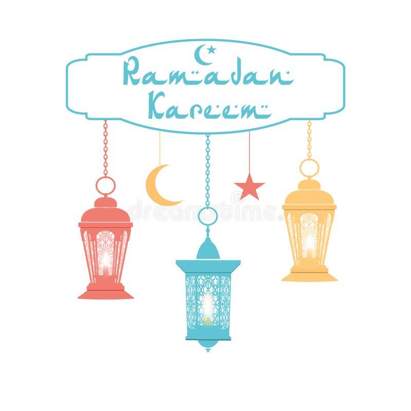 ramadan kareem Färglyktor i den orientaliska stilen hänger på kedjor stjärna halvmånformig Lyckönsknings- inskrift stock illustrationer